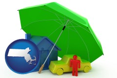massachusetts map icon and types of insurance