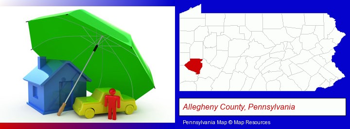types of insurance; Allegheny County, Pennsylvania highlighted in red on a map