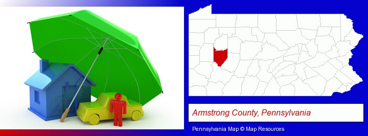 types of insurance; Armstrong County, Pennsylvania highlighted in red on a map