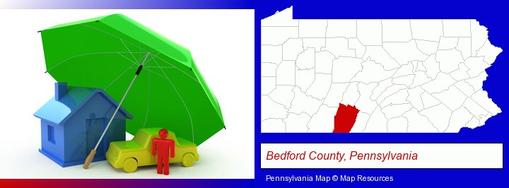types of insurance; Bedford County, Pennsylvania highlighted in red on a map