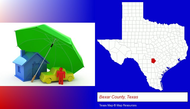 types of insurance; Bexar County, Texas highlighted in red on a map