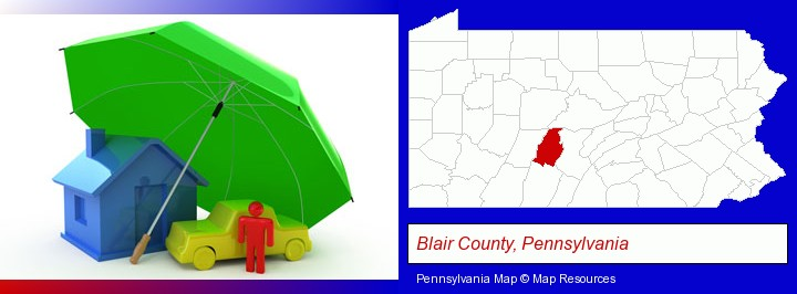 types of insurance; Blair County, Pennsylvania highlighted in red on a map