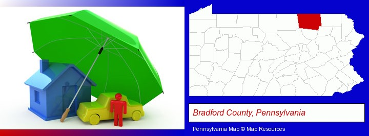 types of insurance; Bradford County, Pennsylvania highlighted in red on a map