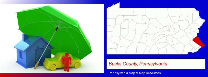 types of insurance; Bucks County, Pennsylvania highlighted in red on a map