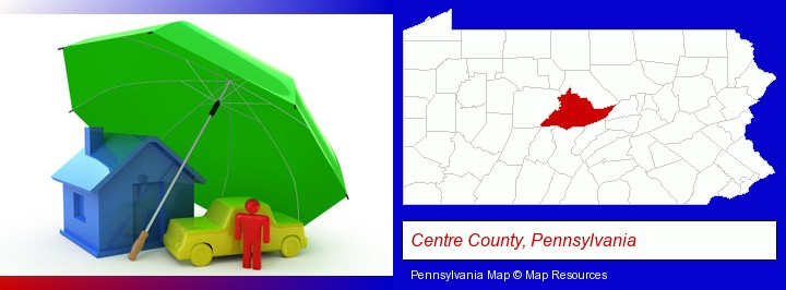 types of insurance; Centre County, Pennsylvania highlighted in red on a map