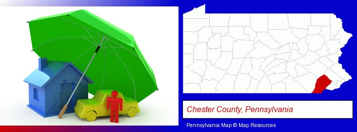types of insurance; Chester County, Pennsylvania highlighted in red on a map