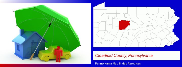 types of insurance; Clearfield County, Pennsylvania highlighted in red on a map