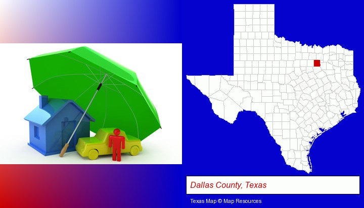 types of insurance; Dallas County, Texas highlighted in red on a map