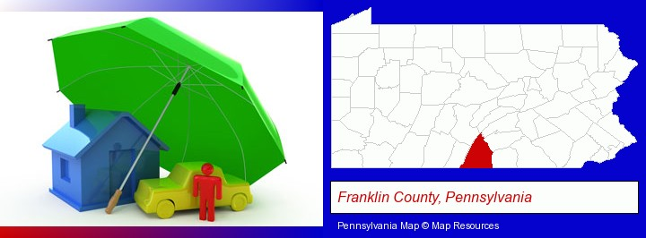 types of insurance; Franklin County, Pennsylvania highlighted in red on a map