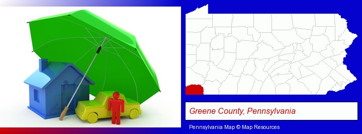 types of insurance; Greene County, Pennsylvania highlighted in red on a map