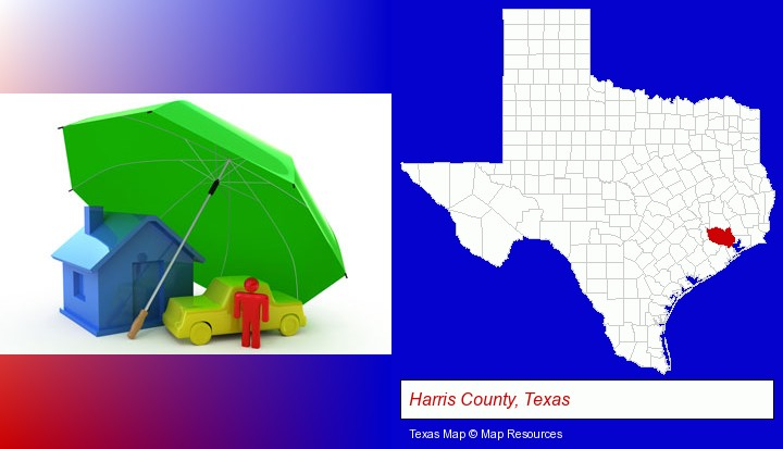 types of insurance; Harris County, Texas highlighted in red on a map