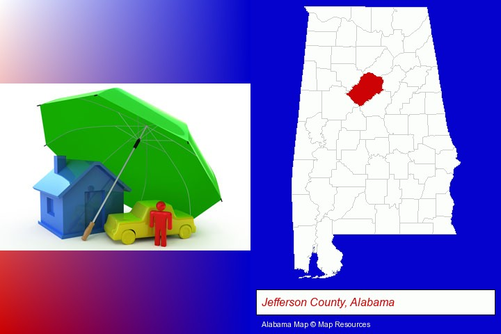 types of insurance; Jefferson County, Alabama highlighted in red on a map