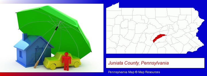 types of insurance; Juniata County, Pennsylvania highlighted in red on a map