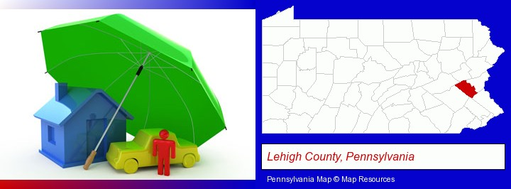 types of insurance; Lehigh County, Pennsylvania highlighted in red on a map