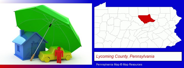 types of insurance; Lycoming County, Pennsylvania highlighted in red on a map
