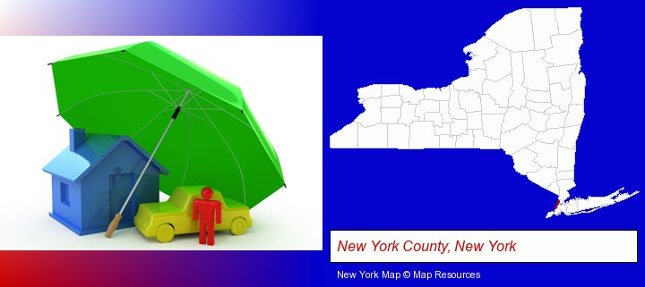 types of insurance; New York County, New York highlighted in red on a map