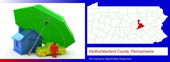 types of insurance; Northumberland County, Pennsylvania highlighted in red on a map