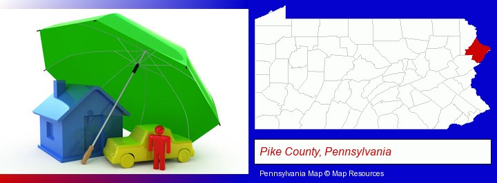 types of insurance; Pike County, Pennsylvania highlighted in red on a map