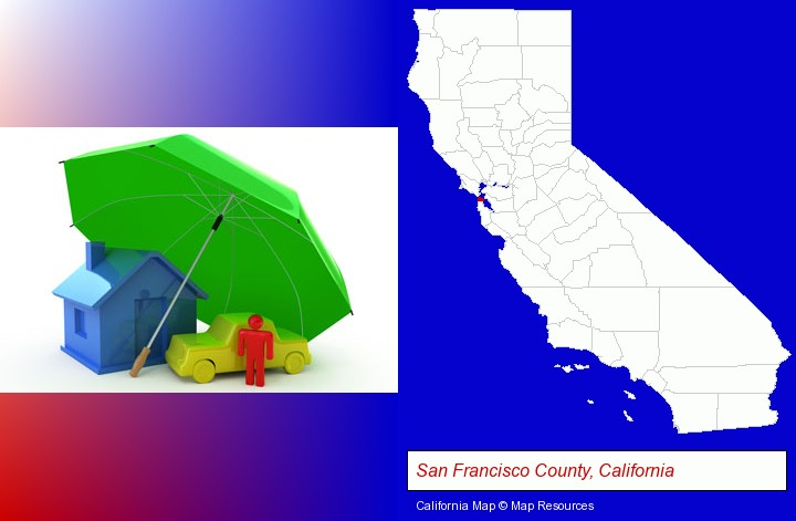 types of insurance; San Francisco County, California highlighted in red on a map