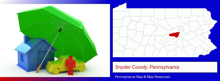 types of insurance; Snyder County, Pennsylvania highlighted in red on a map