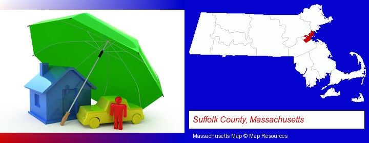 types of insurance; Suffolk County, Massachusetts highlighted in red on a map