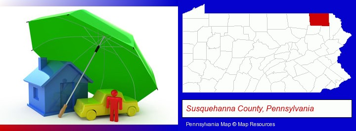 types of insurance; Susquehanna County, Pennsylvania highlighted in red on a map